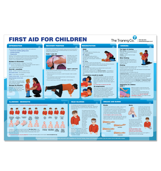 laminated paediatric first aid poster